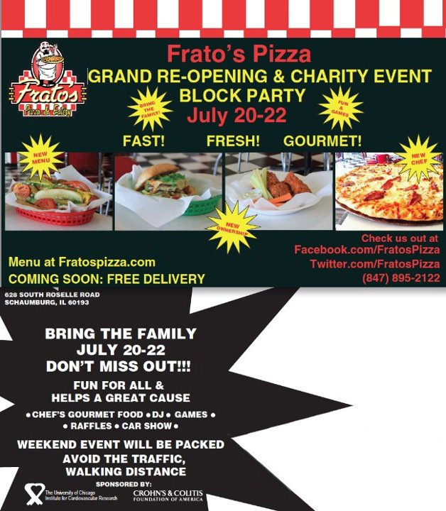 Frato s pizza grand re opening charity event community block