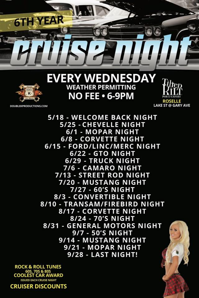 Cruise Night Wednesdays at Tilted Kilt Roselle @ Roselle | Tilted Kilt | Roselle | Illinois | United States