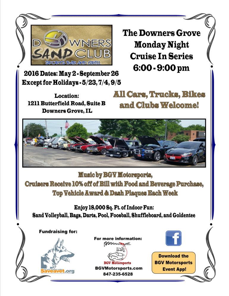 2016 Downers Sand Club Sports Bar & Grill Cruise Night
